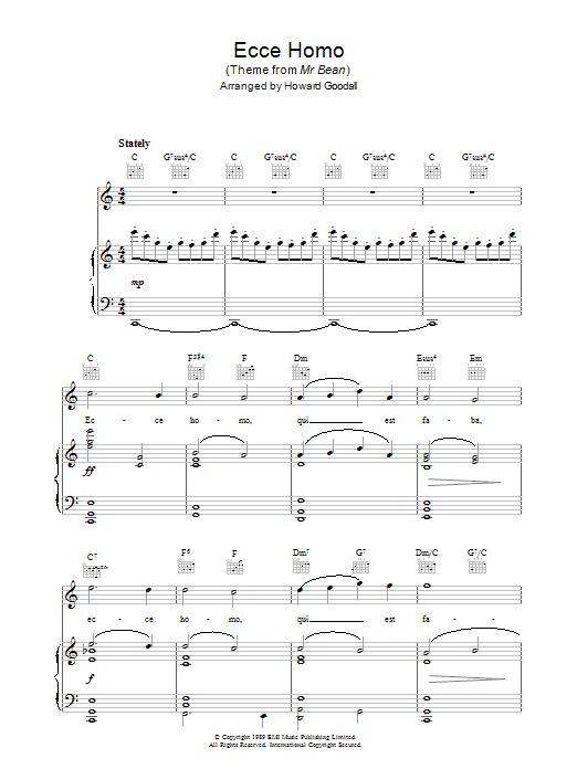 Ecce Homo (Theme from Mr Bean) sheet music