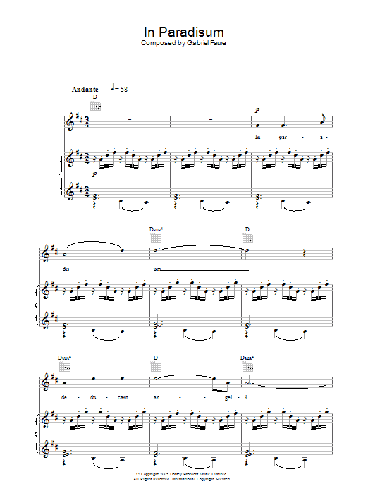 In Paradisum (from Requiem) sheet music