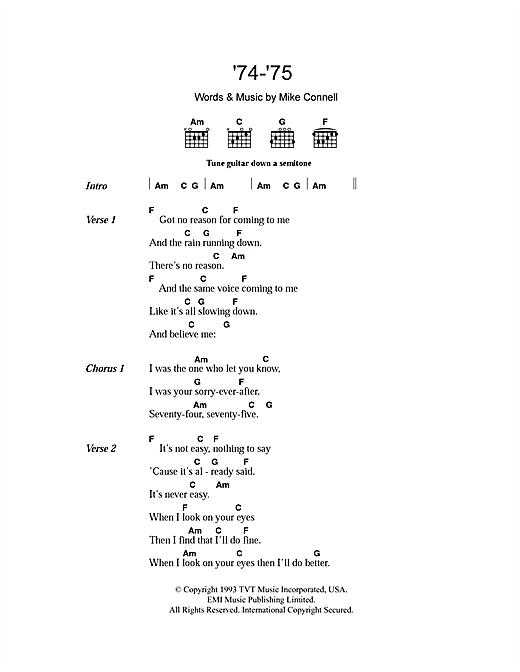 '74-'75 sheet music