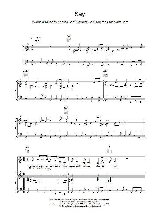 Say sheet music
