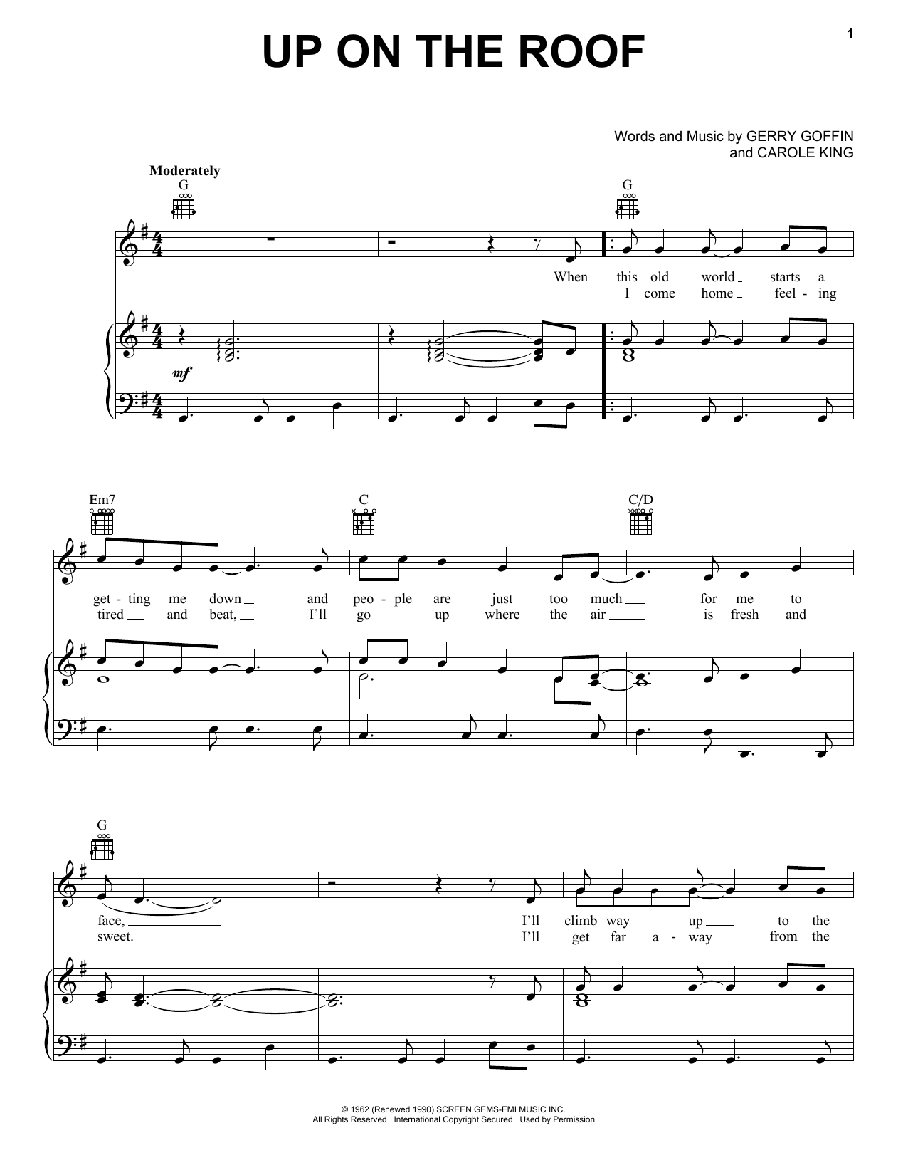 Up On The Roof sheet music