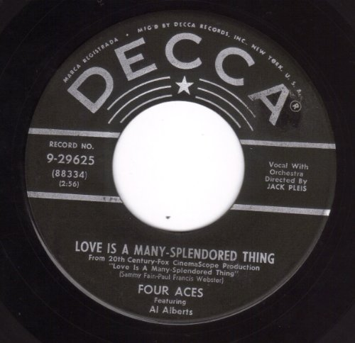 The Four Aces, Love Is A Many-Splendored Thing, Piano, Vocal & Guitar (Right-Hand Melody)