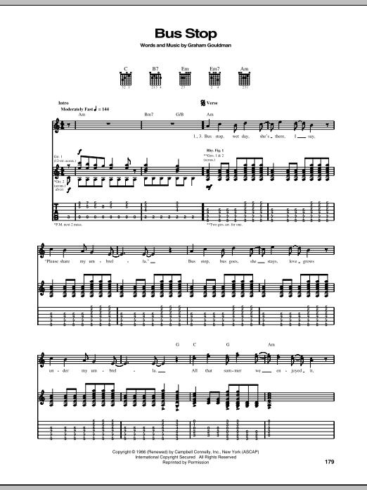 Bus Stop sheet music
