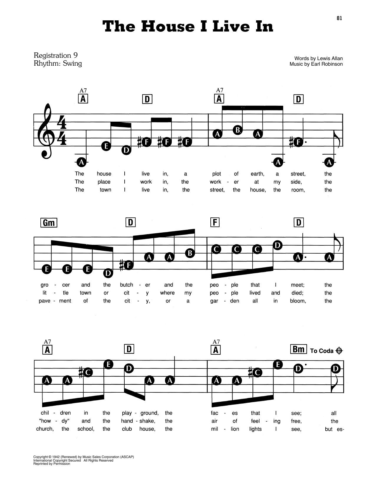 Frank Sinatra The House I Live In Sheet Music Download Pdf Score 156670 Download where do i live? frank sinatra the house i live in