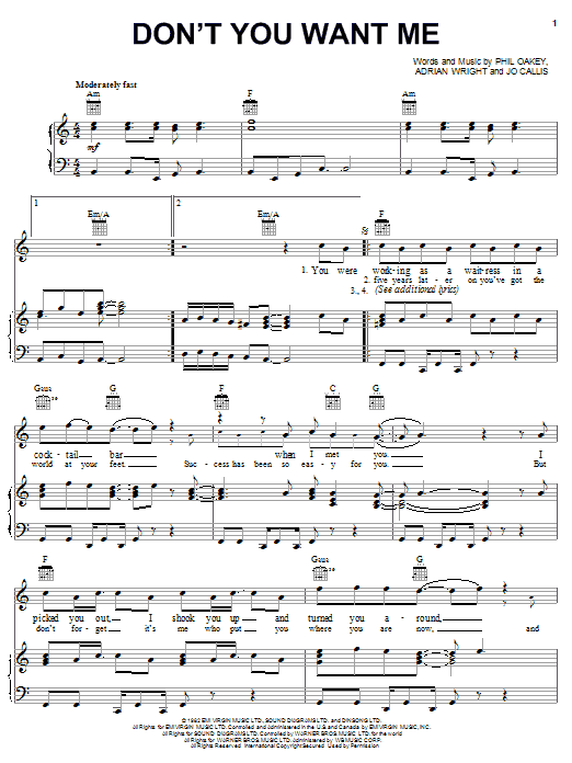 Don't You Want Me sheet music