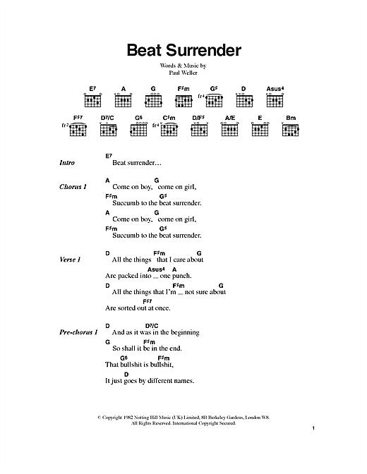 Beat Surrender sheet music