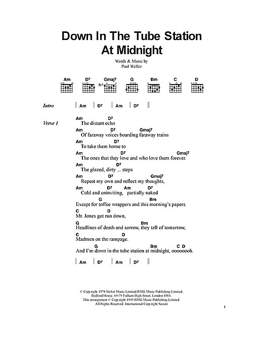 Down In The Tube Station At Midnight sheet music