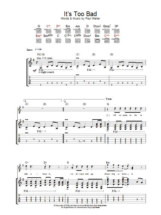 It's Too Bad sheet music