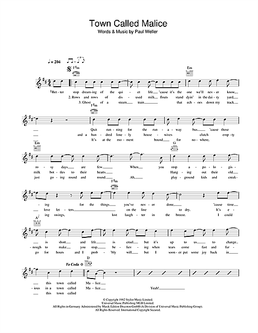Town Called Malice sheet music