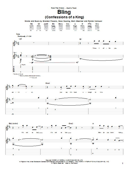 Bling (Confessions Of A King) sheet music