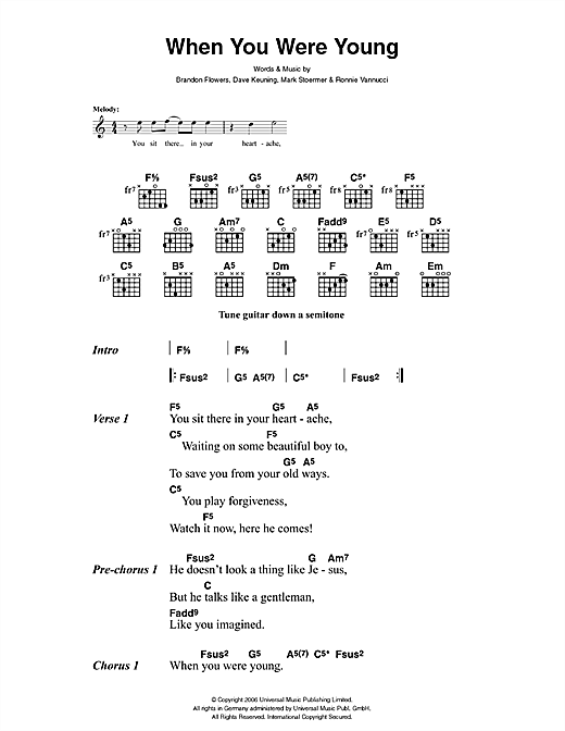 When You Were Young sheet music