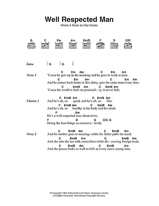 A Well Respected Man sheet music