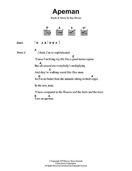 Apeman sheet music