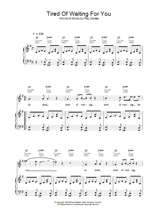 Tired Of Waiting For You sheet music