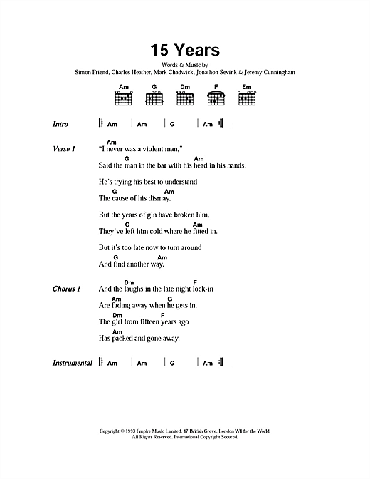 15 Years sheet music