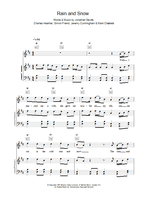 Rain And Snow sheet music