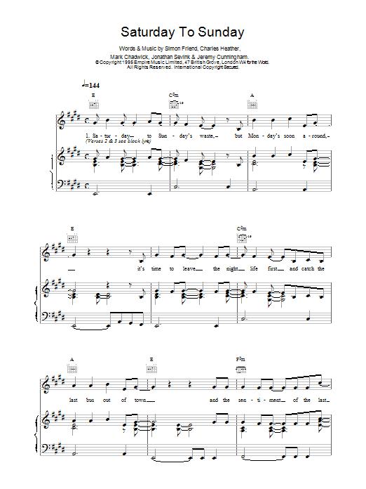 Saturday To Sunday sheet music