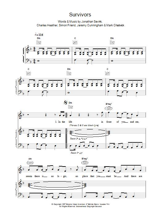 Survivors sheet music