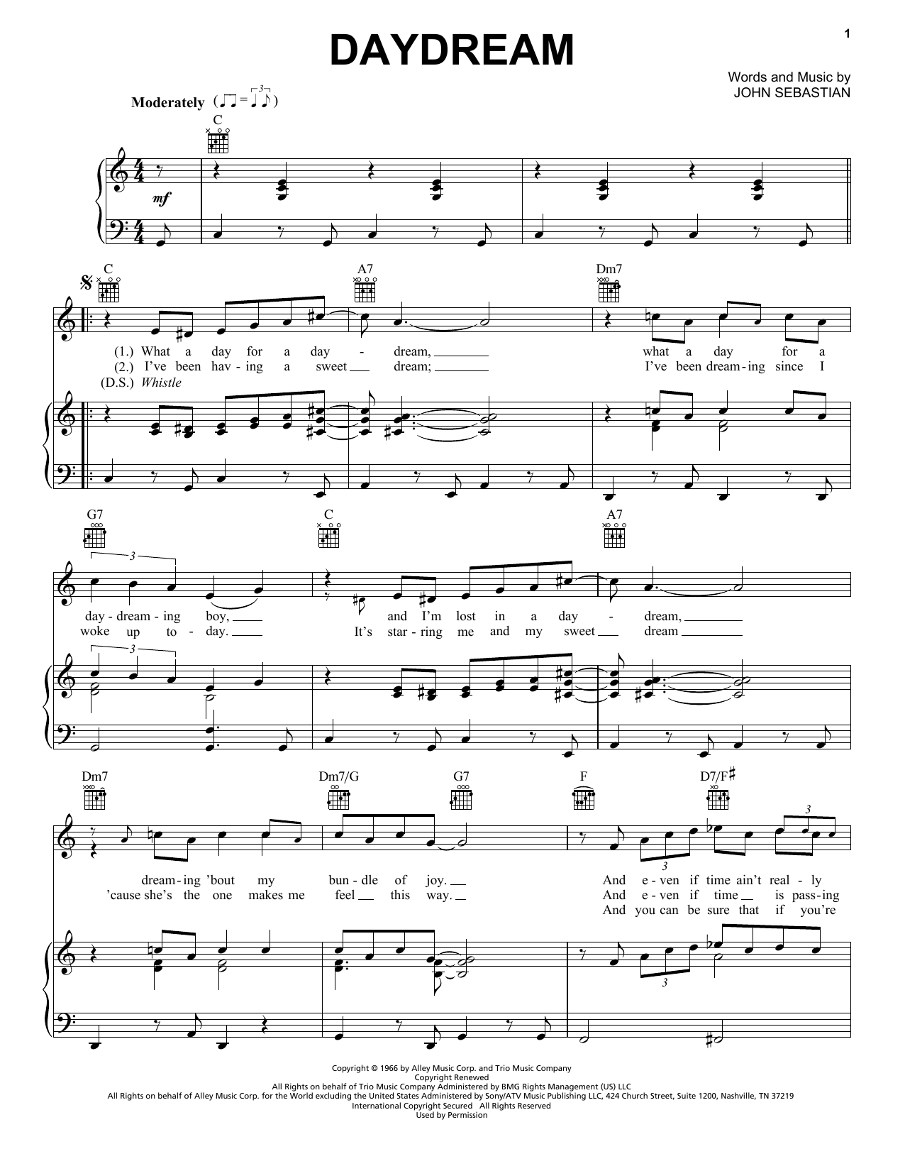 Daydream sheet music