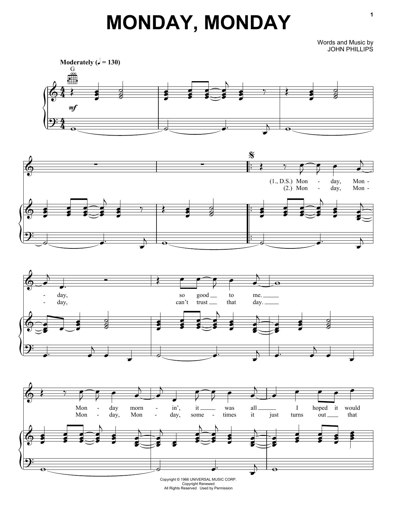 Monday, Monday sheet music