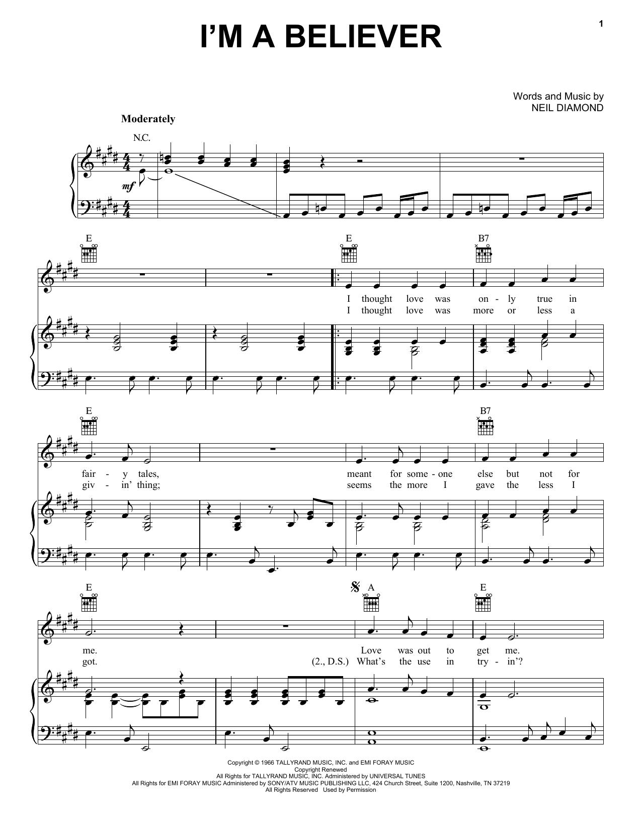 I'm A Believer sheet music