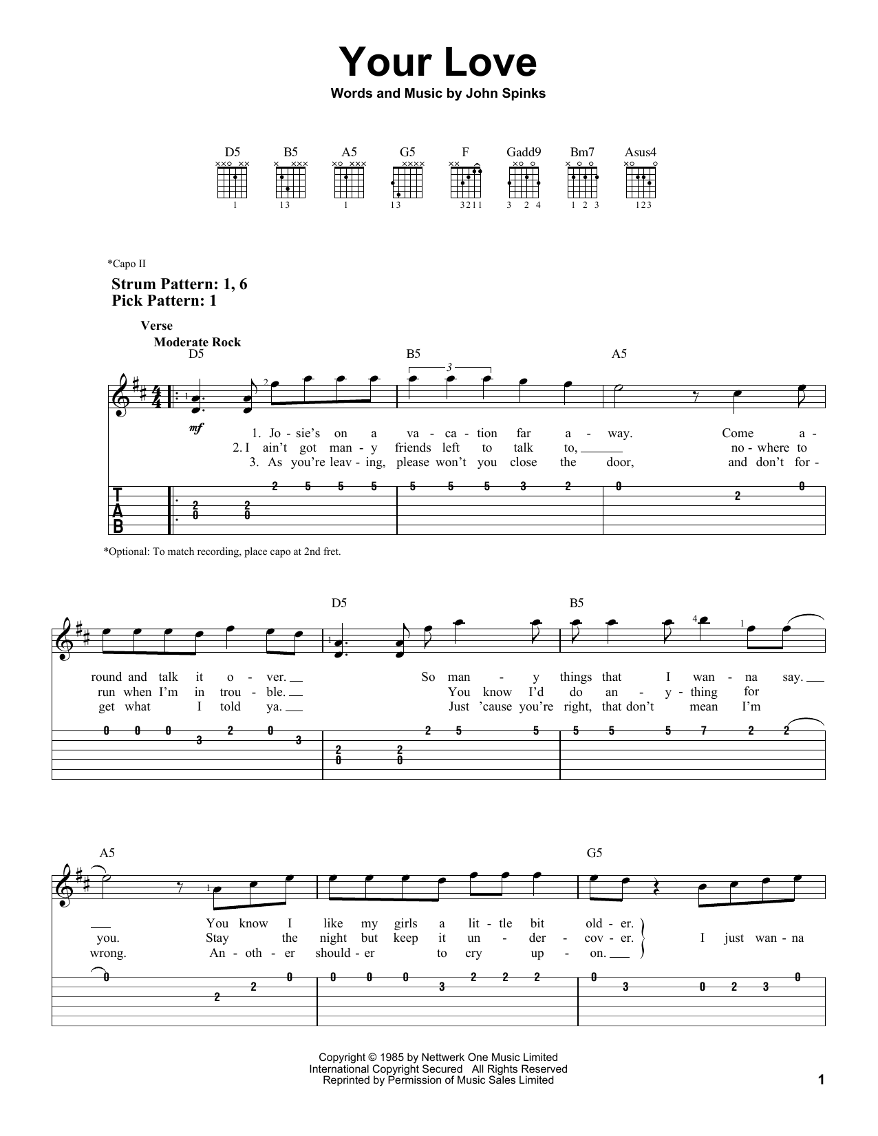 Your Love sheet music