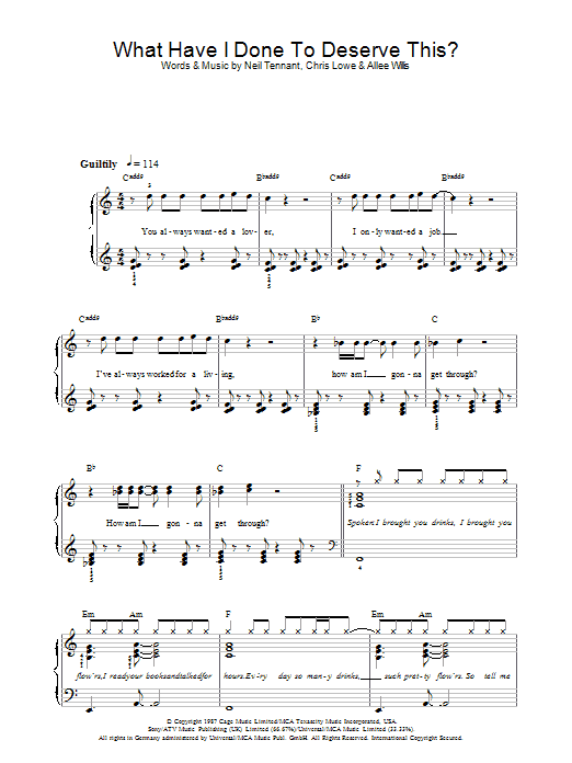 What Have I Done To Deserve This? sheet music