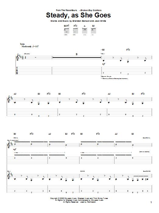 Steady, As She Goes sheet music