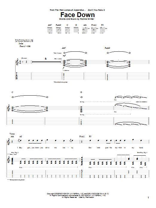 Face Down sheet music