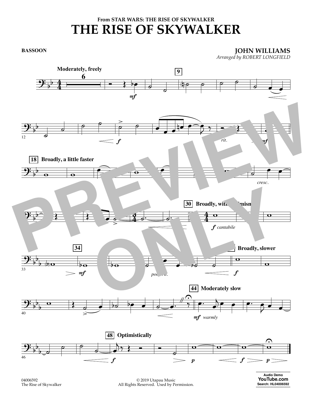 John Williams The Rise Of Skywalker From Star Wars The Rise Of Skywalker Bassoon Sheet Music Download Pdf Score 454595