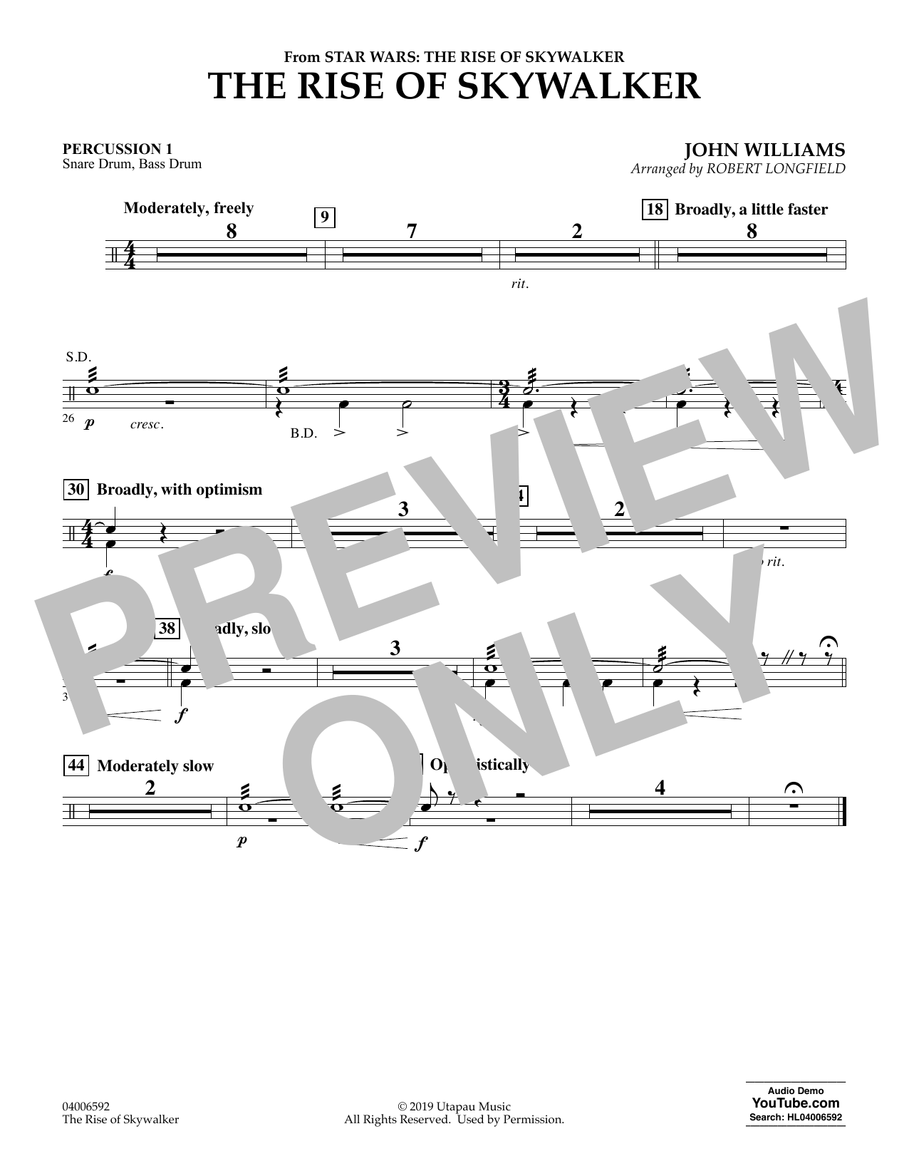 John Williams The Rise Of Skywalker From Star Wars The Rise Of Skywalker Percussion 1 Sheet Music Download Pdf Score 454612