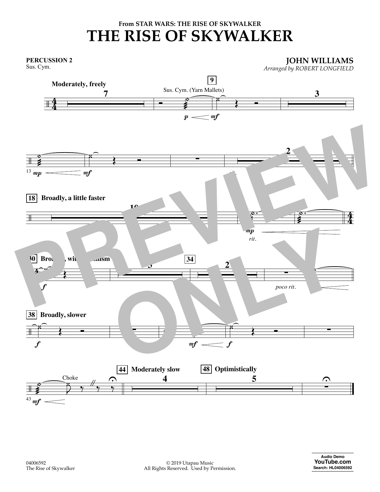 John Williams The Rise Of Skywalker From Star Wars The Rise Of Skywalker Percussion 2 Sheet Music Download Pdf Score 454613