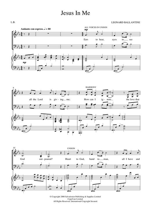 Jesus In Me sheet music