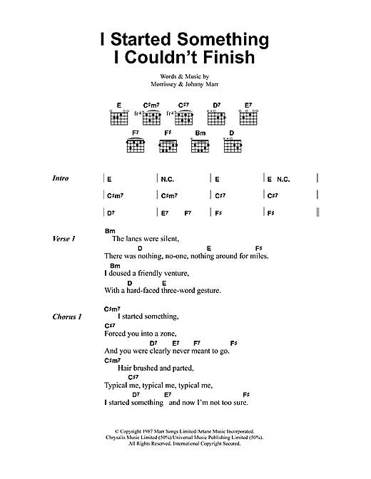 I Started Something I Couldn't Finish sheet music