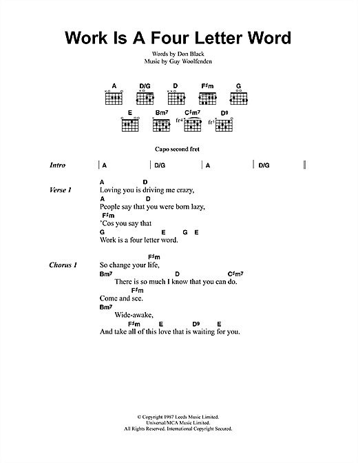 Work Is A Four Letter Word sheet music
