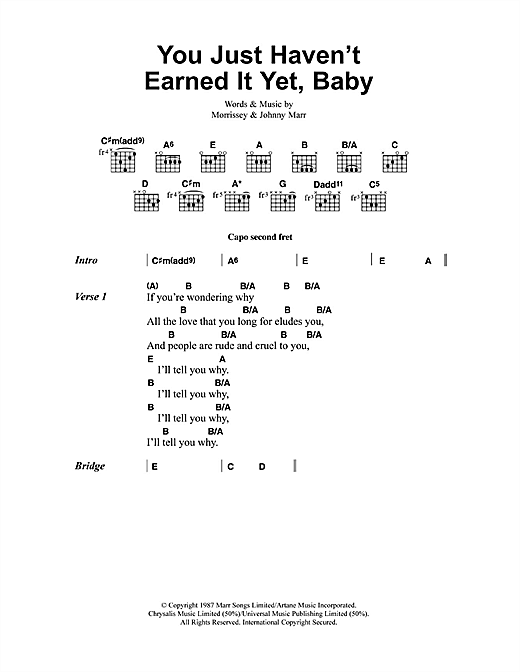 You Just Haven't Earned It Yet, Baby sheet music