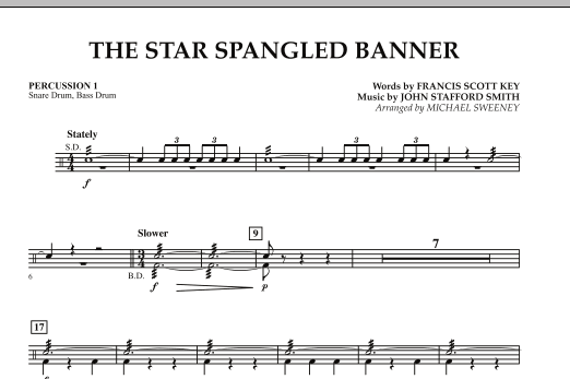 Michael Sweeney The Star Spangled Banner Percussion 1 Sheet Music Download Pdf Score 290817
