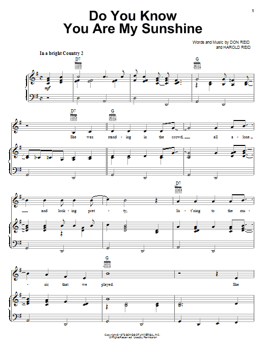 Do You Know You Are My Sunshine sheet music