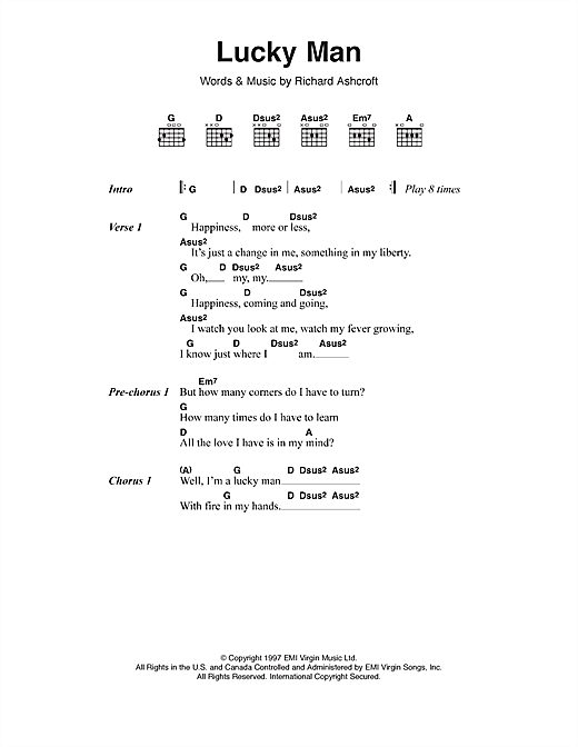 Lucky Man sheet music