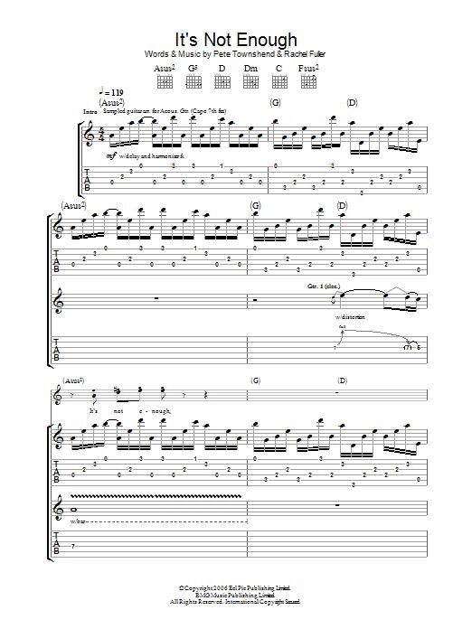 It's Not Enough sheet music