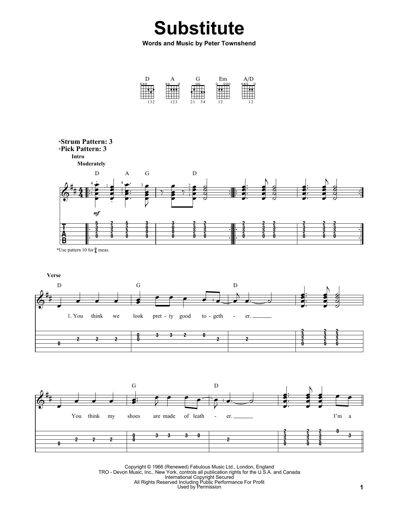 Substitute sheet music