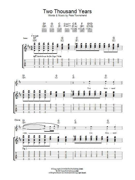 Two Thousand Years sheet music