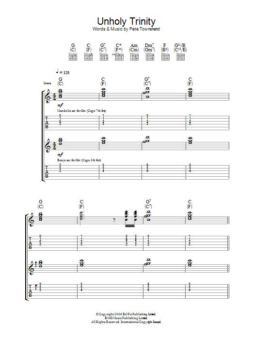 Unholy Trinity sheet music