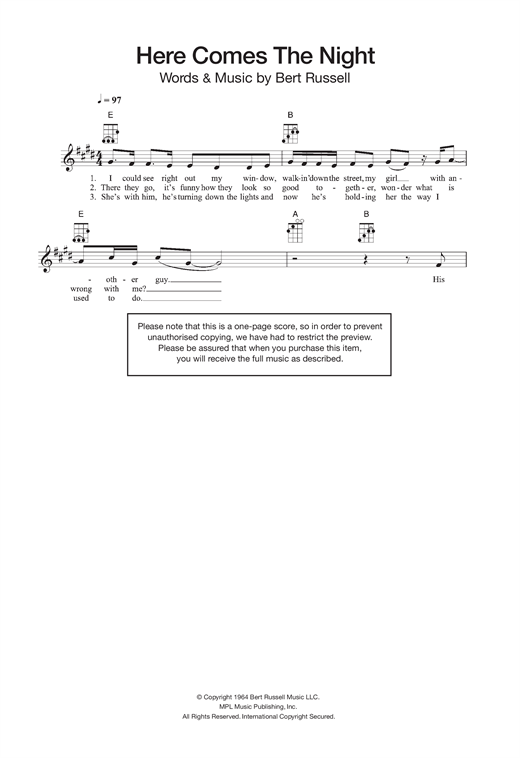 Here Comes The Night sheet music