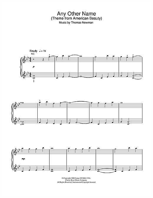 Any Other Name (theme from American Beauty) sheet music