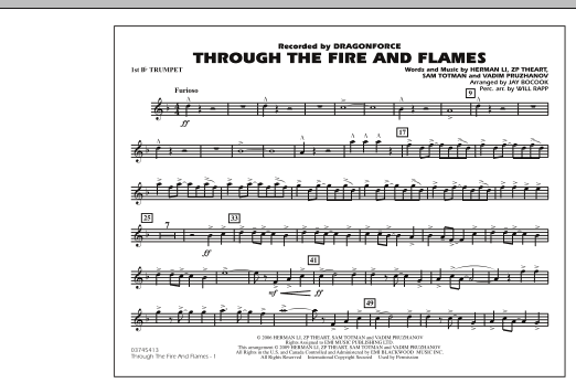 Jay Bocook Through The Fire And Flames 1st Bb Trumpet Sheet Music Download Pdf Score 277081