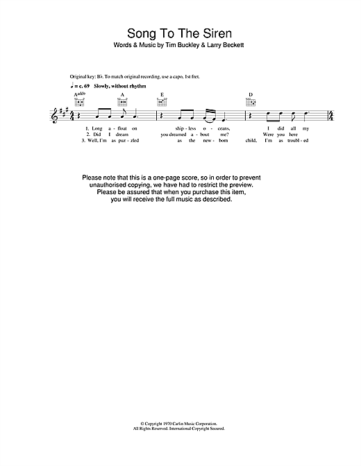 Song To The Siren sheet music
