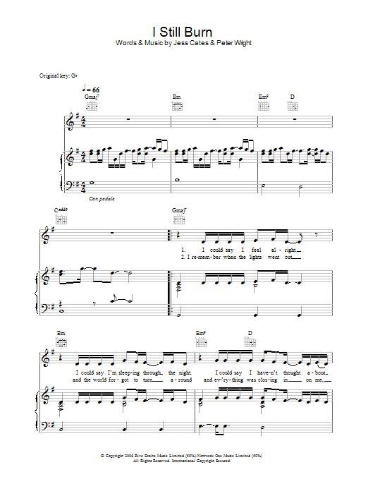 I Still Burn sheet music
