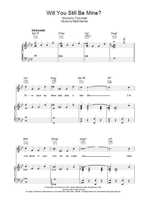 Will You Still Be Mine? sheet music
