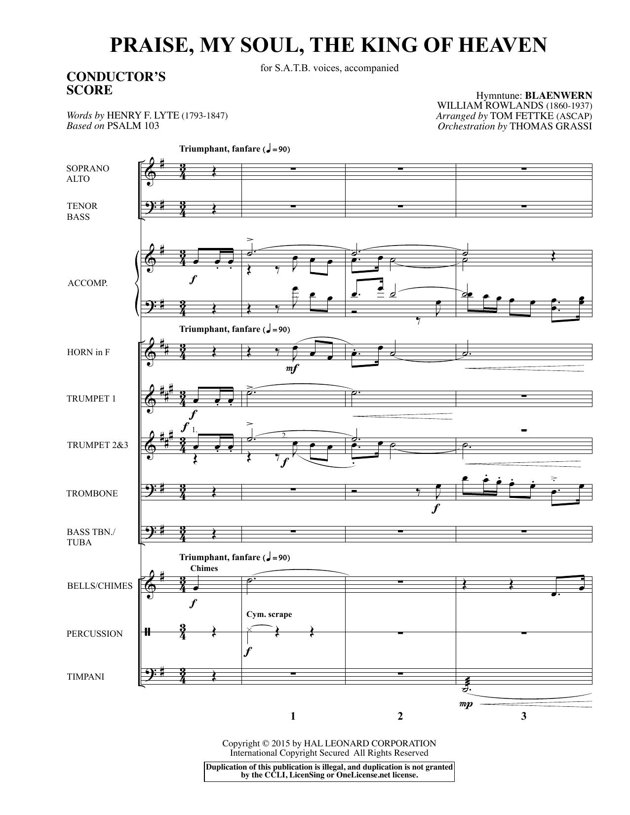 Praise, My Soul, The King of Heaven - Full Score sheet music